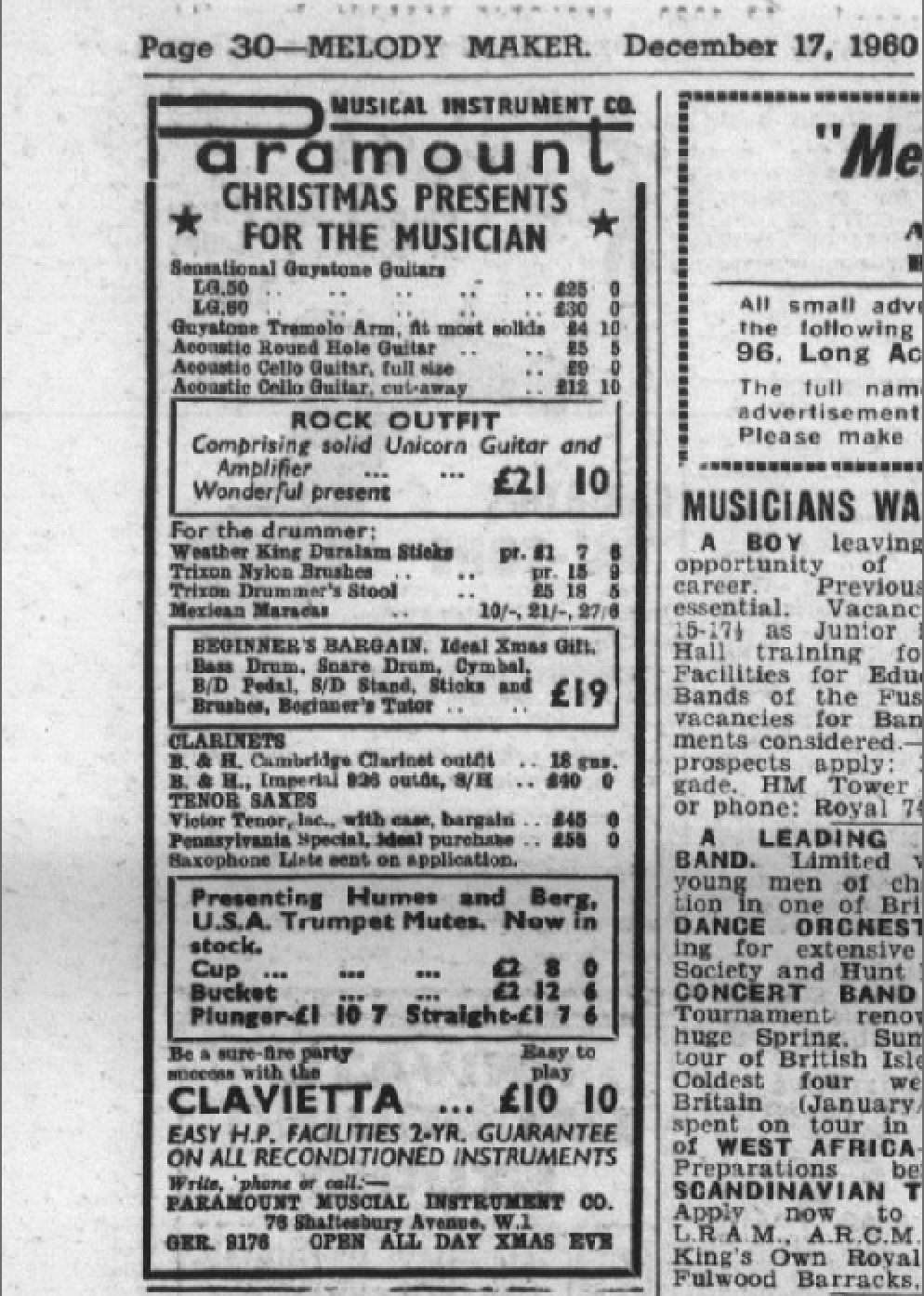 Melody Maker Clavietta December 17th 1960