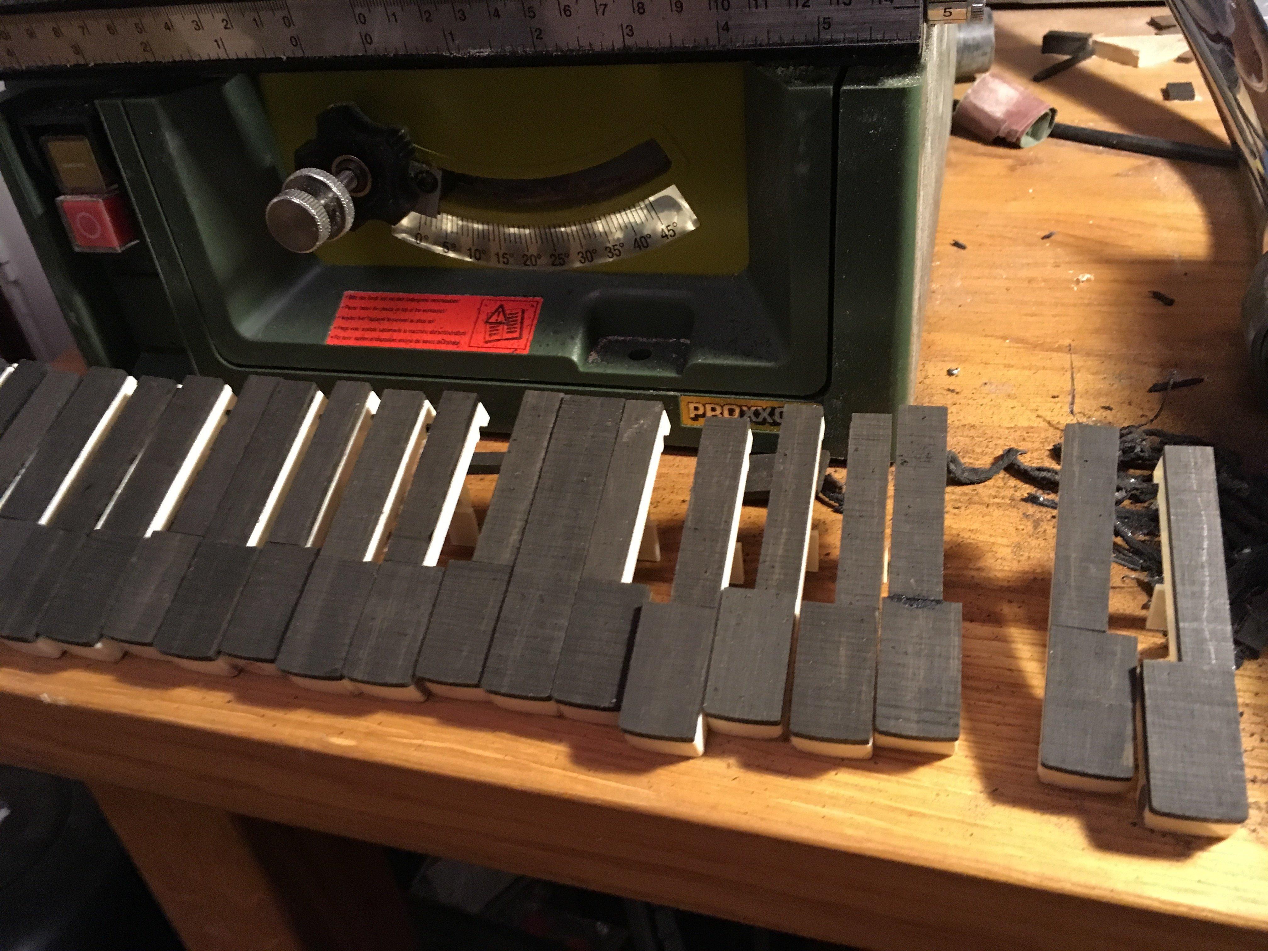 making the ebony melodica keys