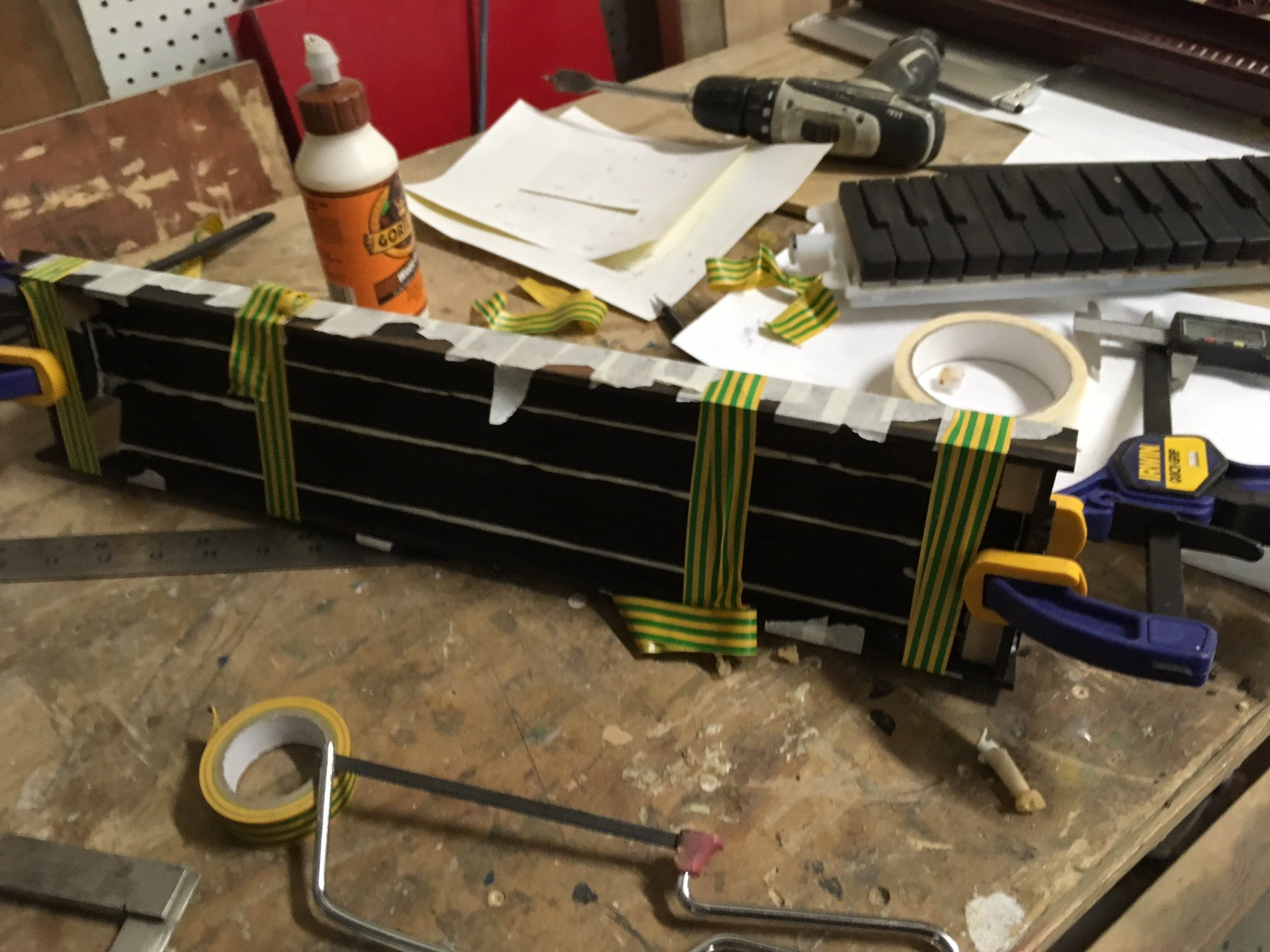 taped panels for wooden melodica